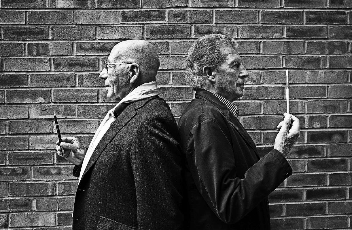 Portrait of Tony Brignull and Neil Godfrey by Julian Hanford